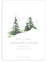 This is a grey save the date magnet by Mere Paper called On the Slopes with standard printing on magnet paper in magnet.