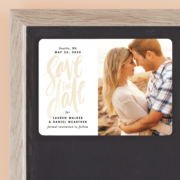 """""""Watercolor Lettering"""" - Bohemian Save The Date Magnets in Buttercup by Alethea and Ruth."""