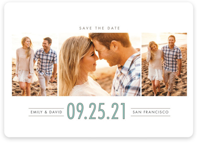 This is a landscape, portrait modern, blue Save the Dates by Shirley Lin Schneider called Uptown Trio with Standard printing on Magnet Paper in Magnet Flat Card format. A contemporary 3 photo save the date card featuring a bold yet ...