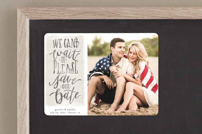 """Can't Wait"" - Bohemian Save The Date Magnets in Charcoal by Grace Kreinbrink."