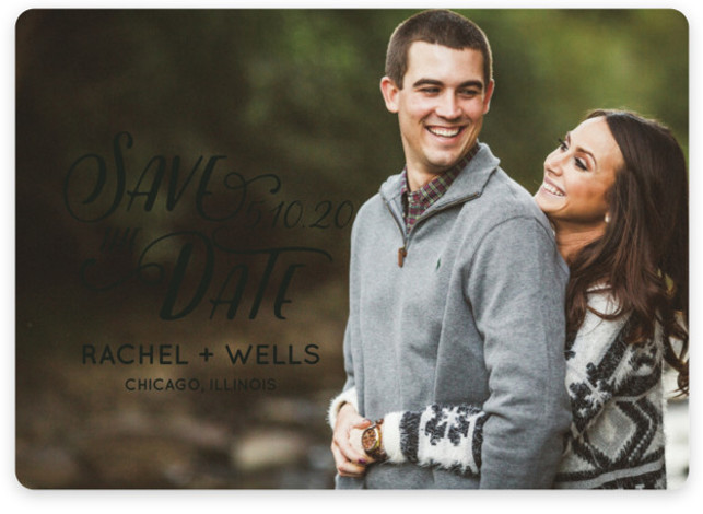 This is a landscape, portrait bohemian, black Save the Dates by Erika Firm called Wyoming with Standard printing on Magnet Paper in Magnet Flat Card format. This simple type overlay helps couples show off their favorite engagement photo in a ...
