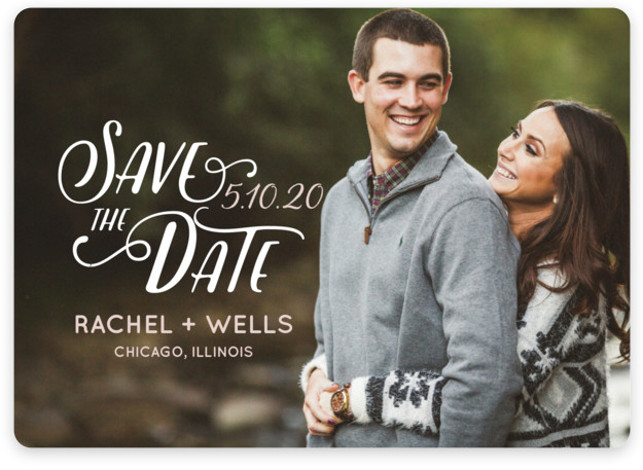 This is a landscape, portrait bohemian, pink Save the Dates by Erika Firm called Wyoming with Standard printing on Magnet Paper in Magnet Flat Card format. This simple type overlay helps couples show off their favorite engagement photo in a ...