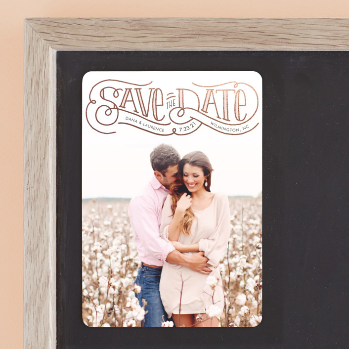 """Flourishing Love"" - Rustic Save The Date Magnets in Rose by Laura Hankins."