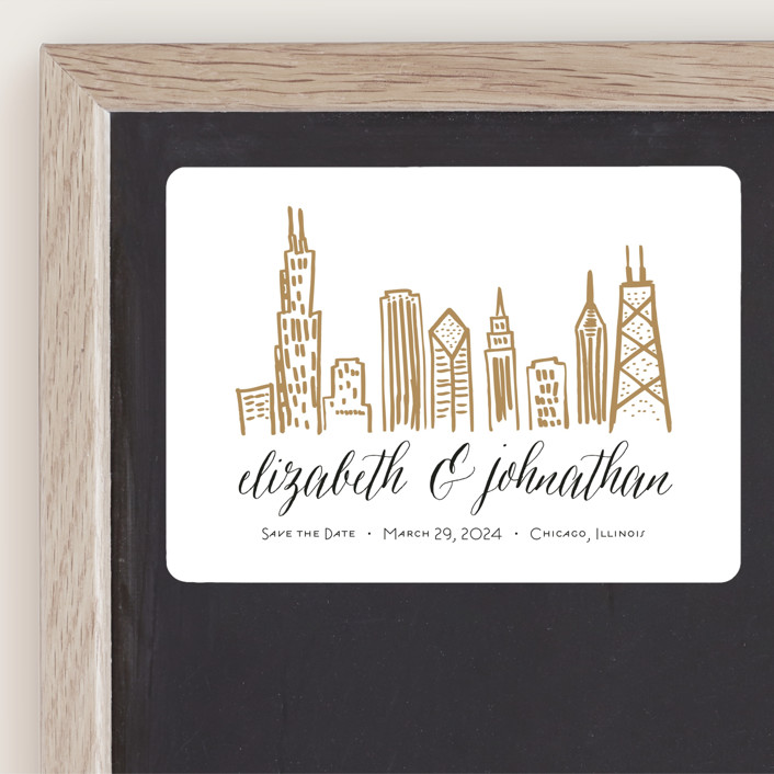"""Chicago Skyline"" - Save The Date Magnets in Gold Coast by Abby Munn."