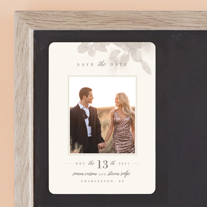 """""""Formal Frame"""" - Save The Date Magnets in Mist by Lori Wemple."""