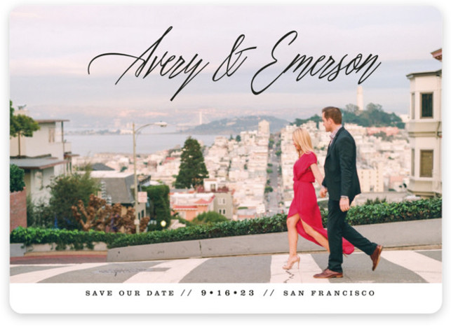 This is a landscape modern, white Save the Dates by Ashley Rosenbaum called No Nonsense with Standard printing on Magnet Paper in Magnet Flat Card format. A modern full bleed save the date that features the couples name in an ...