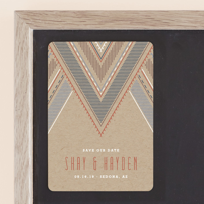"""""""Sedona"""" - Bohemian Save The Date Magnets in Terracotta by Amber Barkley."""