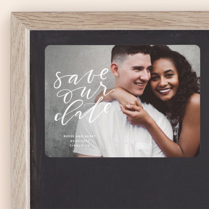 """""""Chalkboard"""" - Modern Save The Date Magnets in Cloud by Haley Warner."""