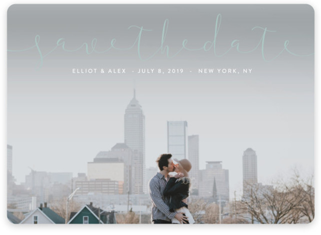 This is a landscape simple and minimalist, blue Save the Dates by Erin Deegan called Ribbon with Standard printing on Magnet Paper in Magnet Flat Card format. Full bleed photo typographic Save the Date design.