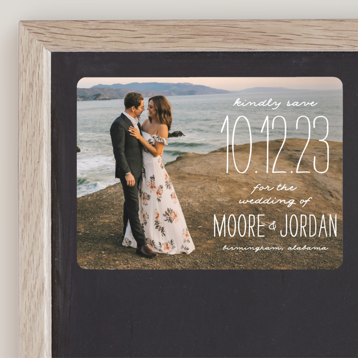 """Earthy"" - Bohemian Save The Date Magnets in Pearl by Owl and Toad."