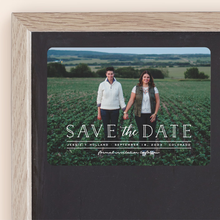 """Casual Type"" - Modern Save The Date Magnets in Cloud by Ashley Rosenbaum."