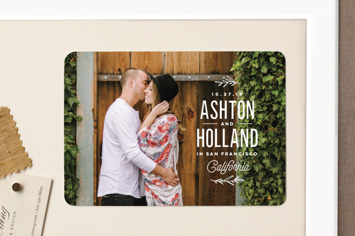 """""""Vintage Love"""" - Modern Save The Date Magnets in Cotton by Oscar & Emma."""
