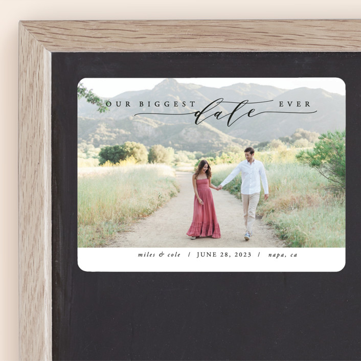 """""""Biggest Date Ever"""" - Save The Date Magnets in Dove White by Kate Ross."""