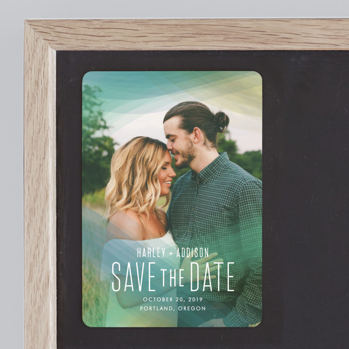 """Radiant Simplicity"" - Modern Save The Date Magnets in Meadow by jomolo."