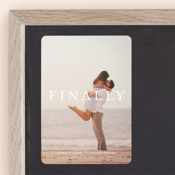 """""""Its Finally Time"""" - Save The Date Magnets in Vanilla by Liz Conley."""