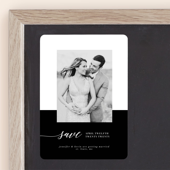 """Black Tie Affair"" - Modern Save The Date Magnets in Tuxedo by lena barakat."