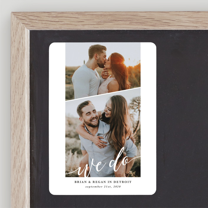 """We Do"" - Save The Date Magnets in Pearl by Laura Hamm."