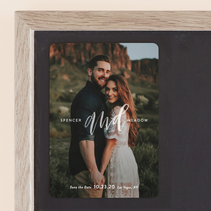 """AND"" - Save The Date Magnets in Pearl by Itsy Belle Studio."