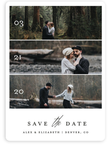 This is a portrait classic and formal, white Save the Dates by Becca Thongkham called Triptych Love with Standard printing on Magnet Paper in Magnet Flat Card format. This simple announcement features a triptych of your three favorite photos, overlaid ...