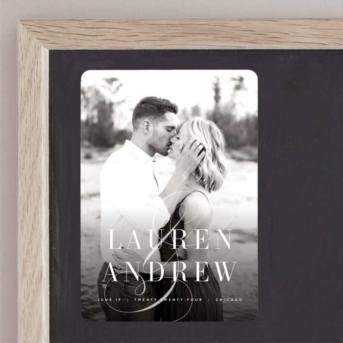 """""""Chic Nameplate"""" - Bold typographic, Classical Save The Date Magnets in Quartz by Kristie Kern."""