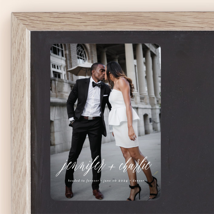 """Headed to Forever"" - Classical, Minimalist Save The Date Magnets in Cloud by Susan Brown."