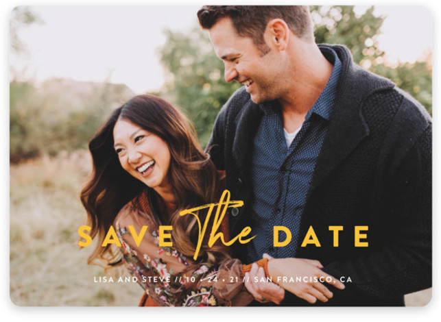 This is a landscape, portrait classic and formal, classical, full bleed photo, yellow Save the Dates by Chryssi Tsoupanarias called Modern Classic with Standard printing on Magnet Paper in Magnet Flat Card format. Modern type combinations allow the full bleed ...