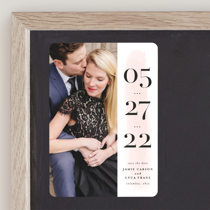 """""""Tall"""" - Save The Date Magnets in Blush by Lea Delaveris."""