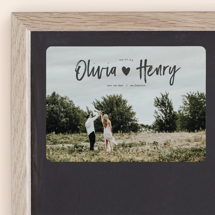 """""""Hearty"""" - Modern Save The Date Magnets in Coal by Sweta Modi."""