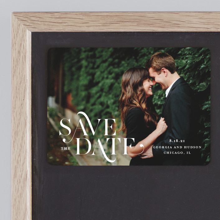 """""""Stacked Serif"""" - Save The Date Magnets in Cream by Lauren Chism."""