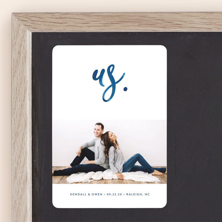"""""""Simply Us"""" - Save The Date Magnets in Indigo by Jessica Maslyn."""