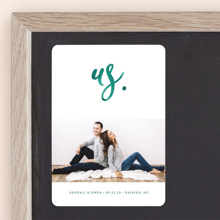 """""""Simply Us"""" - Save The Date Magnets in Forest by Jessica Maslyn."""