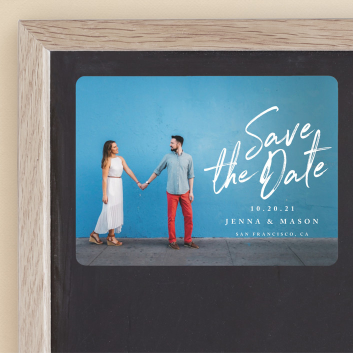 """""""Jot It Down"""" - Save The Date Magnets in Pearl by Owl and Toad."""