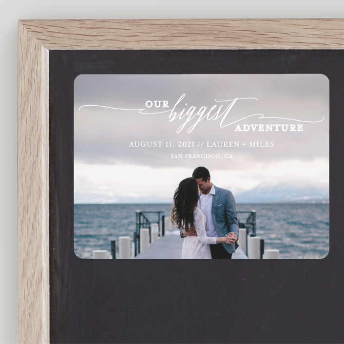 """Our Biggest Adventure"" - Bohemian Save The Date Magnets in Almost Blush by Kate Ross."