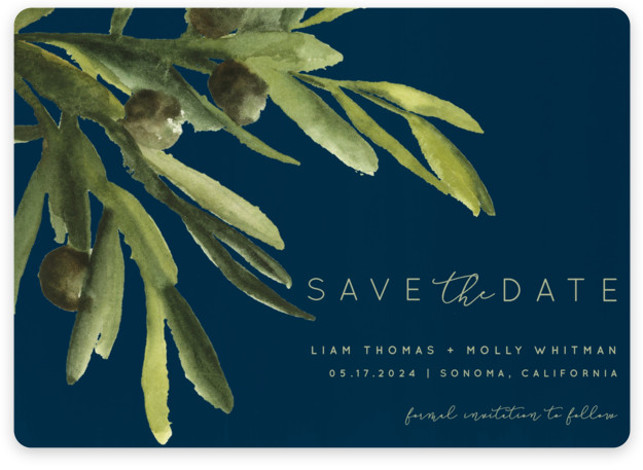 This is a landscape botanical, blue Save the Dates by Kate Ahn called olive bough with Standard printing on Magnet Paper in Magnet Flat Card format. A hand painted watercolor olive bough sets the tone for the wedding in this ...