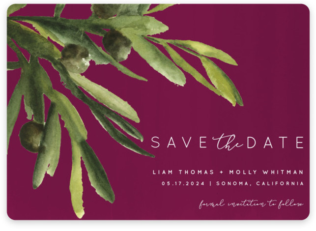 This is a landscape botanical, purple Save the Dates by Kate Ahn called olive bough with Standard printing on Magnet Paper in Magnet Flat Card format. A hand painted watercolor olive bough sets the tone for the wedding in this ...