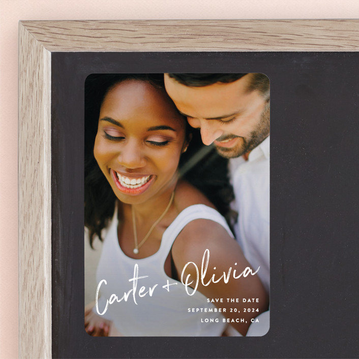 """""""Signature"""" - Bold typographic, Full-Bleed Photo Save The Date Magnets in Pearl by Owl and Toad."""