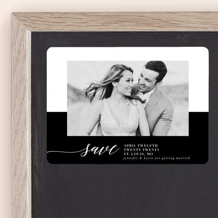 """Black Tie Affair"" - Classical, Minimalist Save The Date Magnets in Tuxedo by lena barakat."