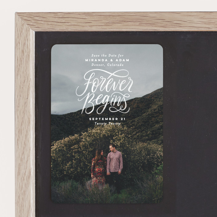 """""""Forever Begins"""" - Bold typographic, Full-Bleed Photo Save The Date Magnets in Chalk by Pink House Press."""