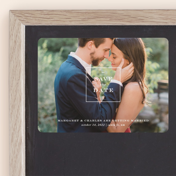 """""""Simple Square"""" - Save The Date Magnets in Snow by Amy Kross."""
