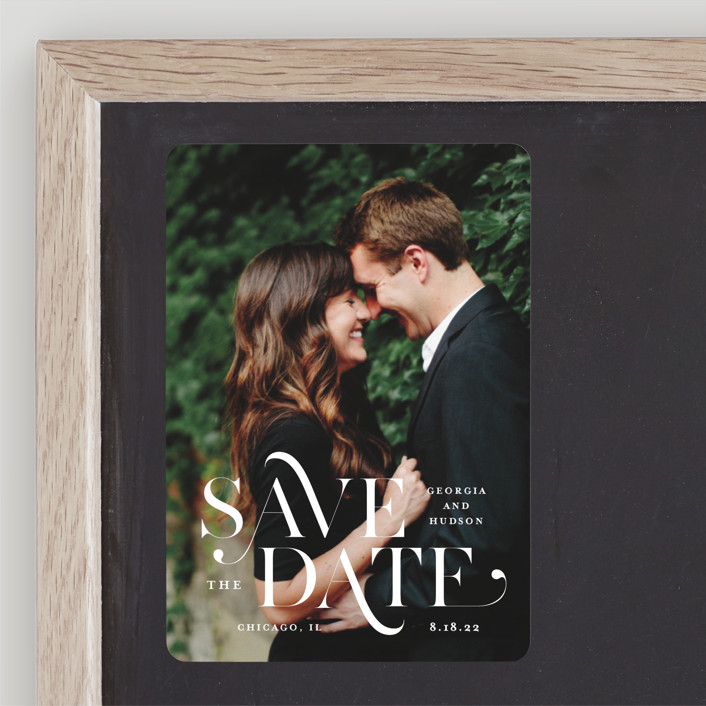 """""""Stacked Serif"""" - Bold typographic Save The Date Magnets in Cream by Lauren Chism."""