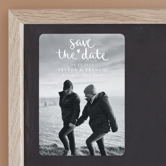 """""""Lovely couple"""" - Modern Save The Date Magnets in Moon by Claudia Orengo."""