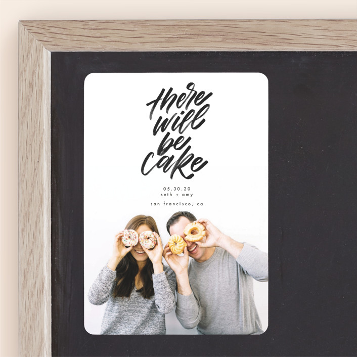 """""""There Will Be Cake"""" - Save The Date Magnets in Charcoal by Erin L. Wilson."""