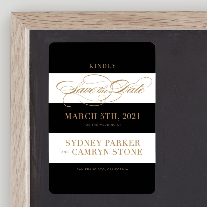 """Fashion District"" - Save The Date Magnets in Black Tie by Jill Means."