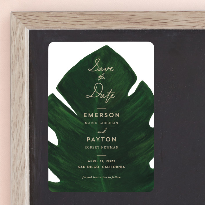"""""""Palm"""" - Save The Date Magnets in Leaf by Kaydi Bishop."""