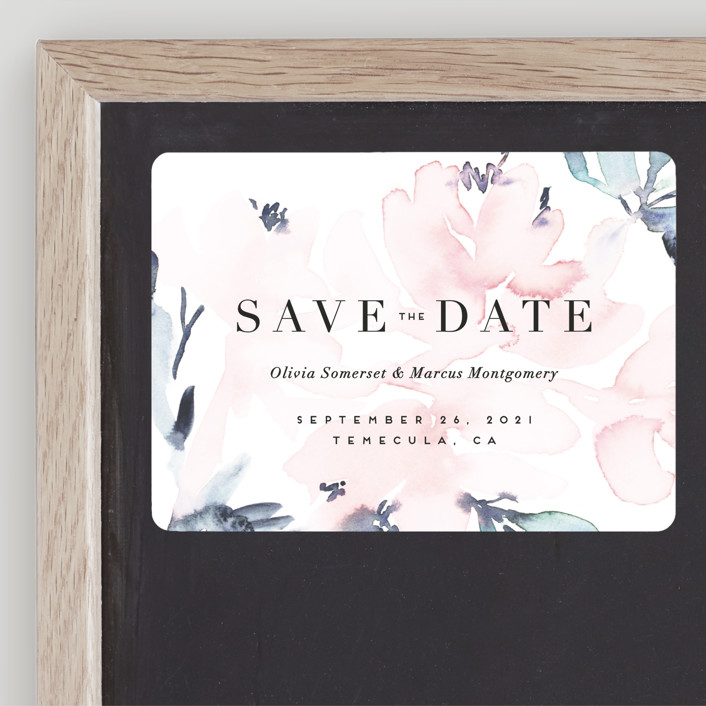 """""""Florista Modernista"""" - Classical, Floral & Botanical Save The Date Magnets in Azalea by Petra Kern."""