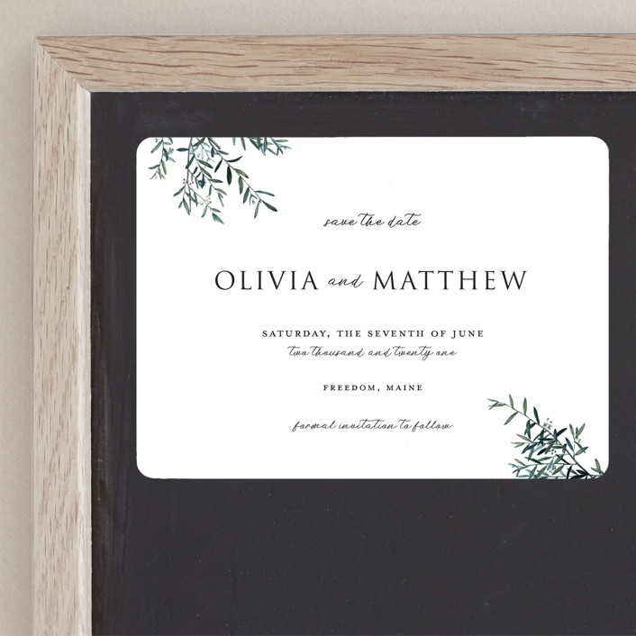"""""""Fresh Sage"""" - Save The Date Magnets in Olive by Christie Kelly."""