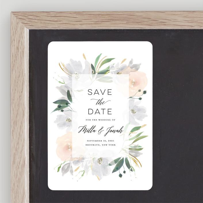 """Grande Botanique"" - Save The Date Magnets in Mist by Bonjour Paper."