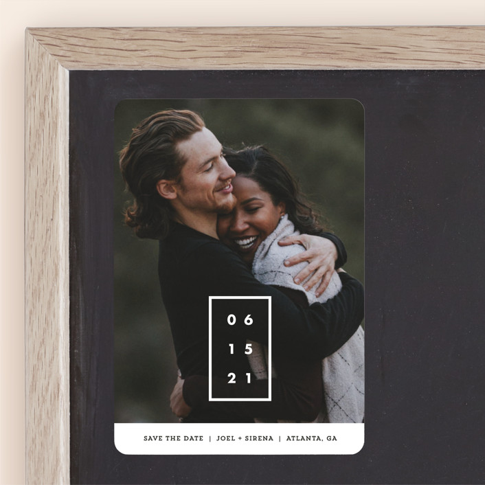 """""""Cherished Date"""" - Bold typographic, Minimalist Save The Date Magnets in Pearl by Chryssi Tsoupanarias."""