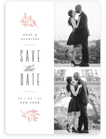 This is a botanical, floral, pink Save the Dates by Hooray Creative called Botanica with Standard printing on Magnet Paper in Magnet Flat Card format. A 2 photo layout with handsome type and botanical accents.