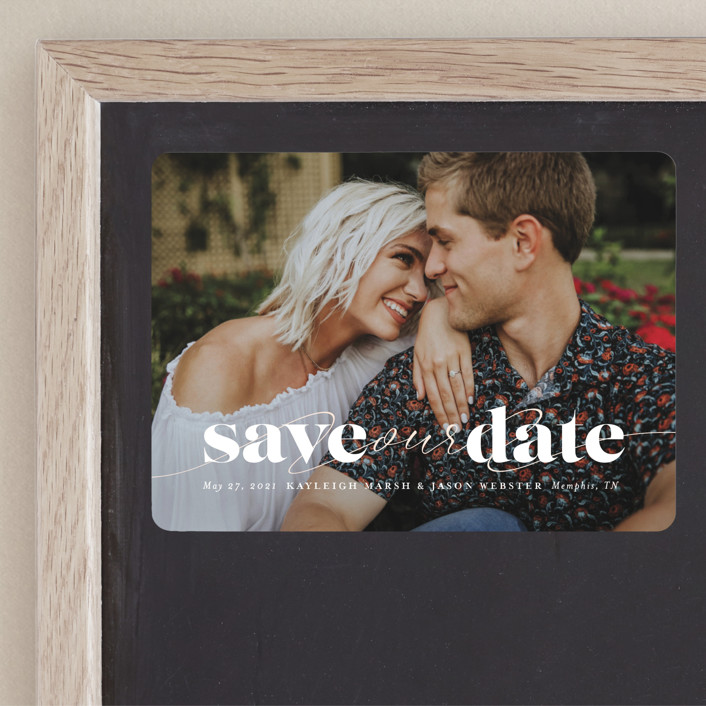 """Swoon"" - Save The Date Magnets in Vanilla by Lea Delaveris."